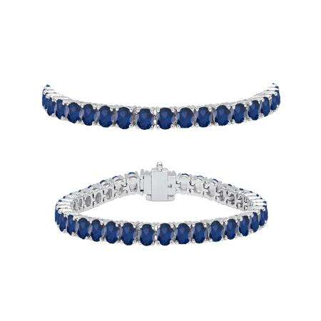5.00 Carat (ctw) 10K White Gold Round Cut Real Blue Sapphire Ladies Tennis Bracelet 5 CT