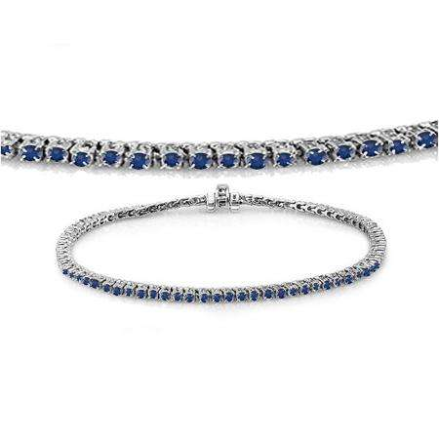 1.50 Carat (ctw) 10K White Gold Round Cut Real Blue Sapphire Ladies Tennis Bracelet 1 1/2 CT