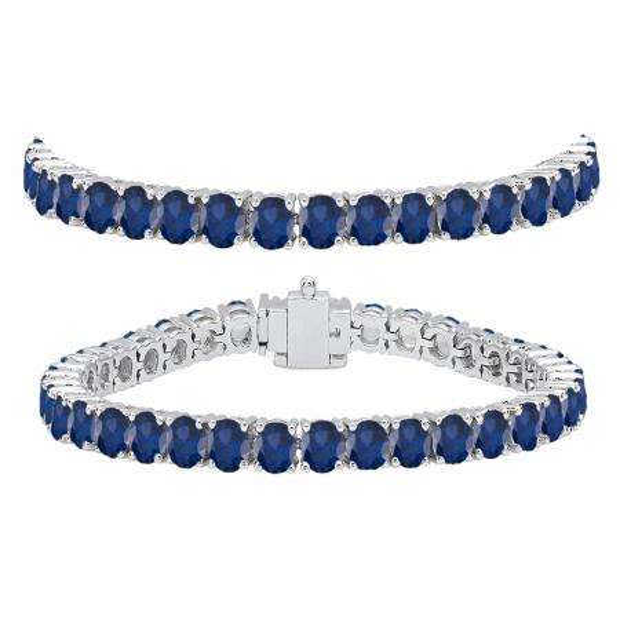12.00 Carat (ctw) 14K White Gold Round Cut Real Blue Sapphire Ladies Tennis Bracelet 12 CT