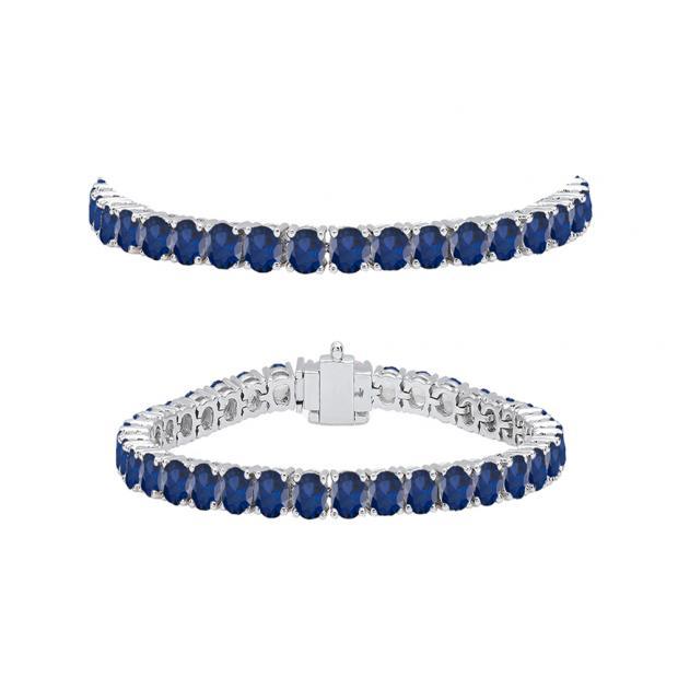 5.00 Carat (ctw) 14K White Gold Round Cut Real Blue Sapphire Ladies Tennis Bracelet 5 CT
