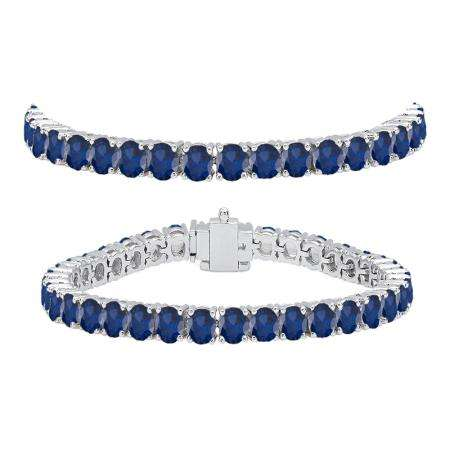 10.00 Carat (ctw) 18K White Gold Round Cut Real Blue Sapphire Ladies Tennis Bracelet 10 CT