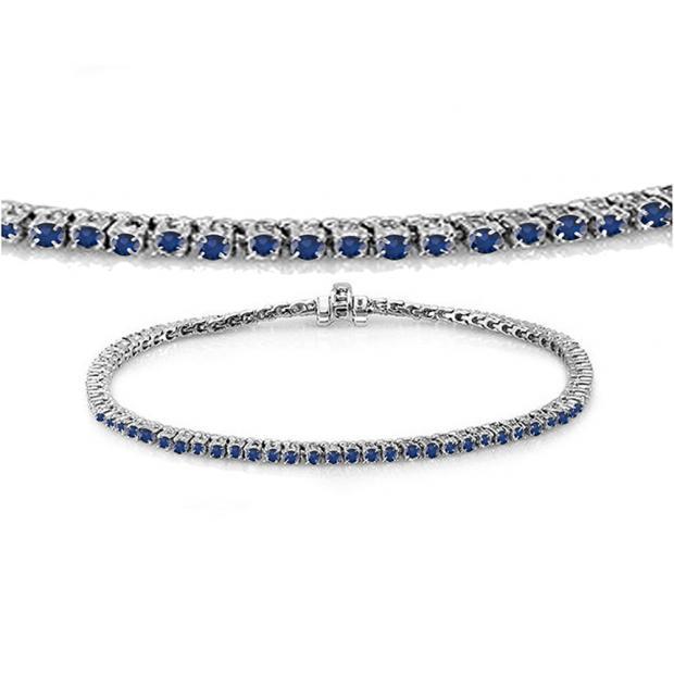 1.50 Carat (ctw) 18K White Gold Round Cut Real Blue Sapphire Ladies Tennis Bracelet 1 1/2 CT