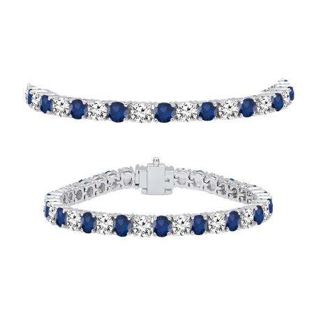 10.00 Carat (ctw) 10K White Gold Round Real Blue Sapphire & White Diamond Ladies Tennis Bracelet 10 CT
