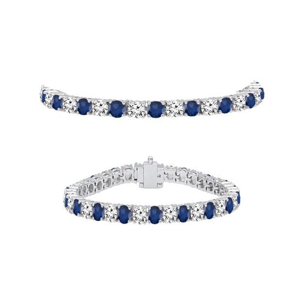7.00 Carat (ctw) 10K White Gold Round Real Blue Sapphire & White Diamond Ladies Tennis Bracelet 7 CT