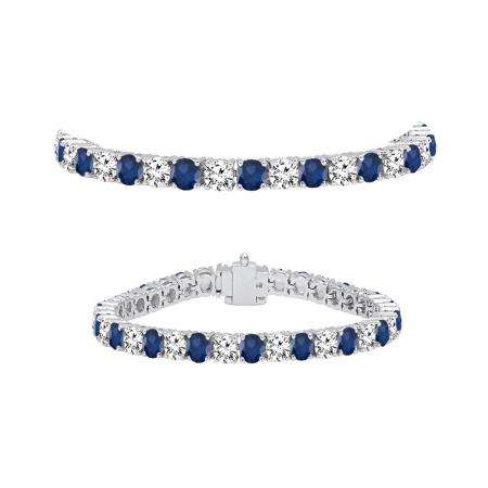 8.00 Carat (ctw) 10K White Gold Round Real Blue Sapphire & White Diamond Ladies Tennis Bracelet 8 CT