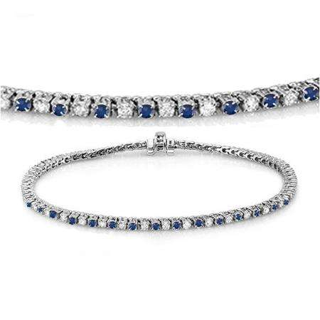 2.00 Carat (ctw) 14K White Gold Round Real Blue Sapphire & White Diamond Ladies Tennis Bracelet 2 CT