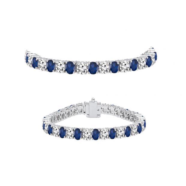 5.00 Carat (ctw) 14K White Gold Round Real Blue Sapphire & White Diamond Ladies Tennis Bracelet 5 CT
