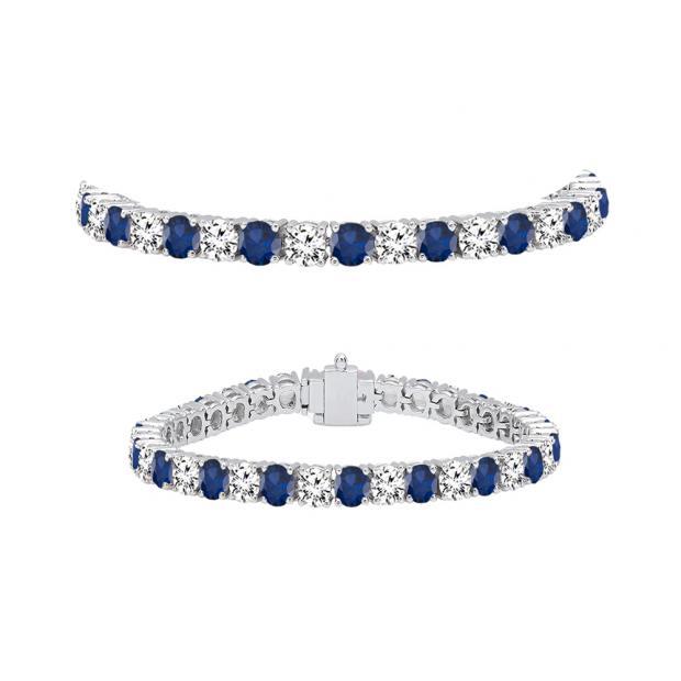 8.00 Carat (ctw) 14K White Gold Round Real Blue Sapphire & White Diamond Ladies Tennis Bracelet 8 CT