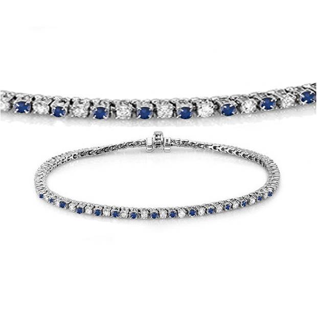 1.50 Carat (ctw) 14K White Gold Round Real Blue Sapphire & White Diamond Ladies Tennis Bracelet 1 1/2 CT