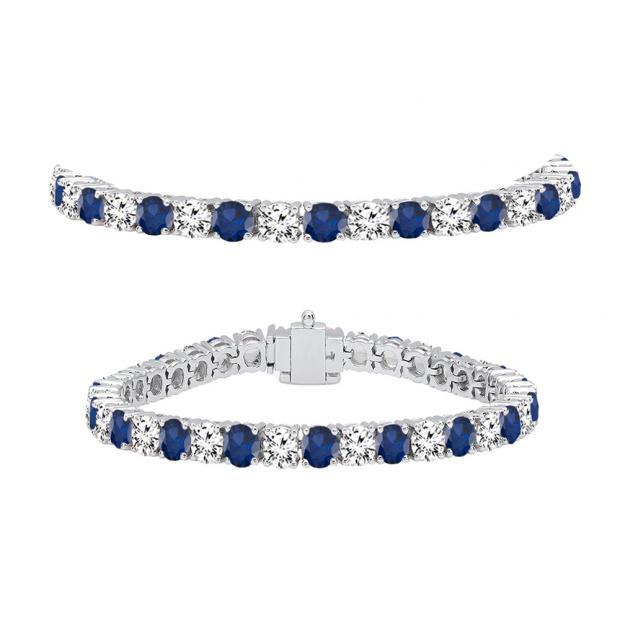 10.00 Carat (ctw) 18K White Gold Round Real Blue Sapphire & White Diamond Ladies Tennis Bracelet 10 CT