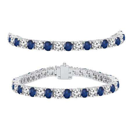 12.00 Carat (ctw) 18K White Gold Round Real Blue Sapphire & White Diamond Ladies Tennis Bracelet 12 CT