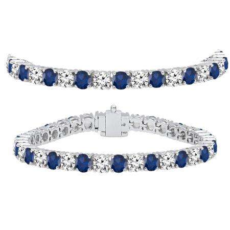 15.00 Carat (ctw) 18K White Gold Round Real Blue Sapphire & White Diamond Ladies Tennis Bracelet 15 CT