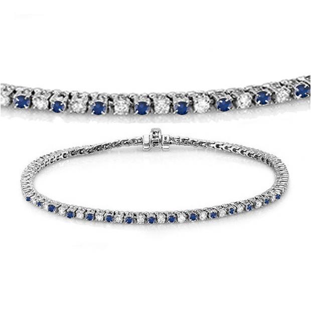2.00 Carat (ctw) 18K White Gold Round Real Blue Sapphire & White Diamond Ladies Tennis Bracelet 2 CT