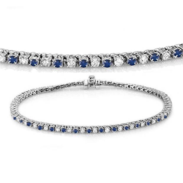 3.00 Carat (ctw) 18K White Gold Round Real Blue Sapphire & White Diamond Ladies Tennis Bracelet 3 CT