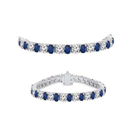 5.00 Carat (ctw) 18K White Gold Round Real Blue Sapphire & White Diamond Ladies Tennis Bracelet 5 CT
