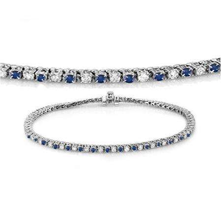 1.50 Carat (ctw) 18K White Gold Round Real Blue Sapphire & White Diamond Ladies Tennis Bracelet 1 1/2 CT