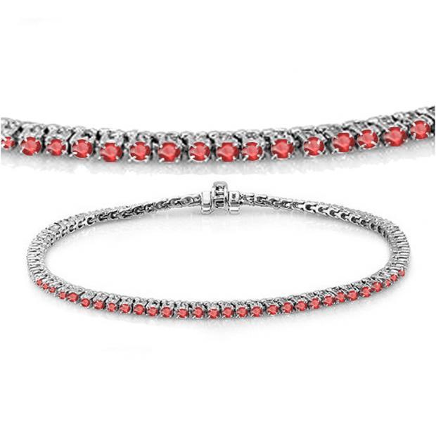 3.00 Carat (ctw) 10K White Gold Round Cut Real Ruby Ladies Tennis Bracelet 3 CT