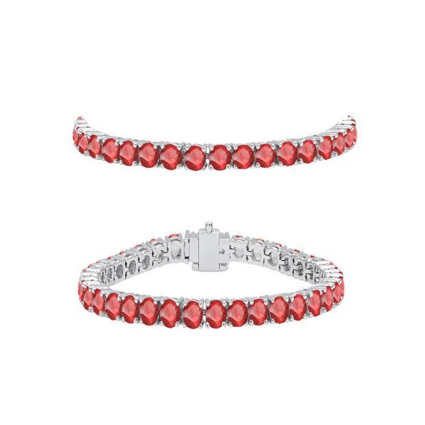 5.00 Carat (ctw) 10K White Gold Round Cut Real Ruby Ladies Tennis Bracelet 5 CT