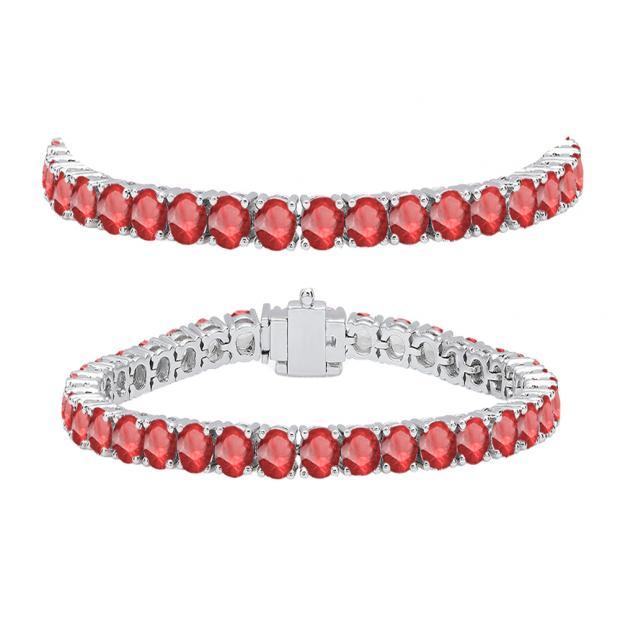 10.00 Carat (ctw) 14K White Gold Round Cut Real Ruby Ladies Tennis Bracelet 10 CT