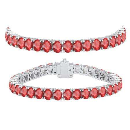 12.00 Carat (ctw) 14K White Gold Round Cut Real Ruby Ladies Tennis Bracelet 12 CT