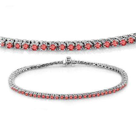 3.00 Carat (ctw) 14K White Gold Round Cut Real Ruby Ladies Tennis Bracelet 3 CT