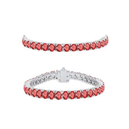 5.00 Carat (ctw) 14K White Gold Round Cut Real Ruby Ladies Tennis Bracelet 5 CT