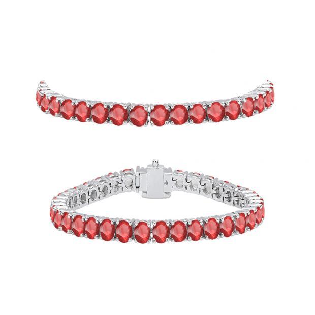 7.00 Carat (ctw) 14K White Gold Round Cut Real Ruby Ladies Tennis Bracelet 7 CT