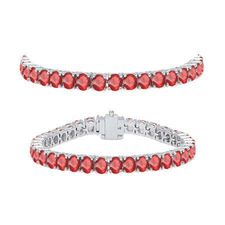 8.00 Carat (ctw) 14K White Gold Round Cut Real Ruby Ladies Tennis Bracelet 8 CT