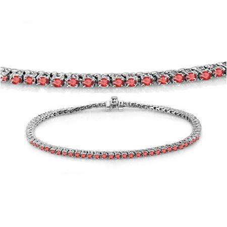 1.50 Carat (ctw) 14K White Gold Round Cut Real Ruby Ladies Tennis Bracelet 1 1/2 CT