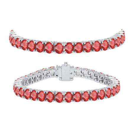 10.00 Carat (ctw) 18K White Gold Round Cut Real Ruby Ladies Tennis Bracelet 10 CT