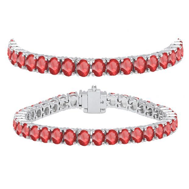 12.00 Carat (ctw) 18K White Gold Round Cut Real Ruby Ladies Tennis Bracelet 12 CT