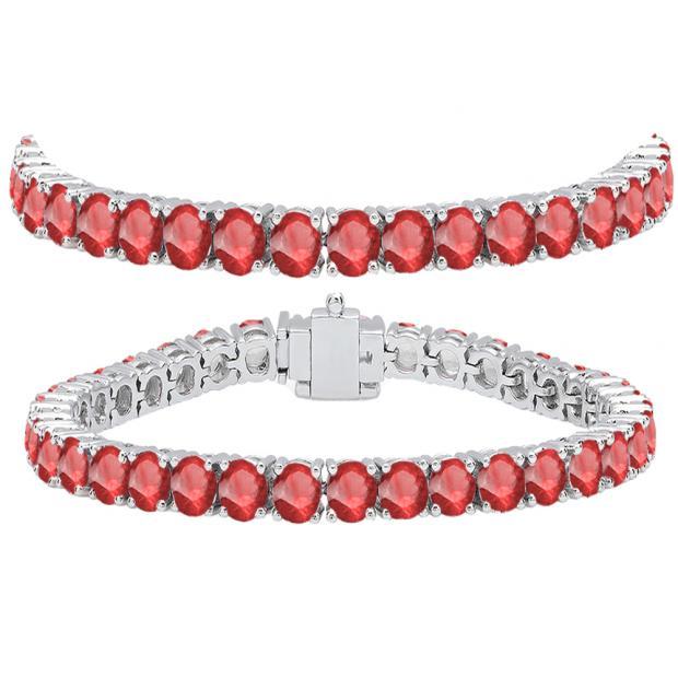 15.00 Carat (ctw) 18K White Gold Round Cut Real Ruby Ladies Tennis Bracelet 15 CT