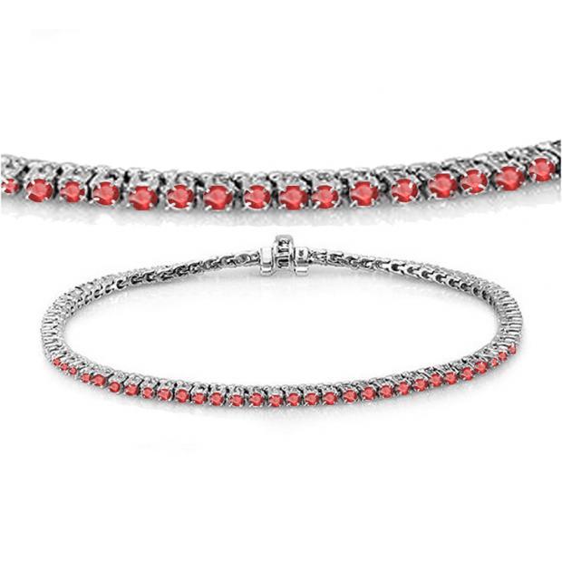 2.00 Carat (ctw) 18K White Gold Round Cut Real Ruby Ladies Tennis Bracelet 2 CT