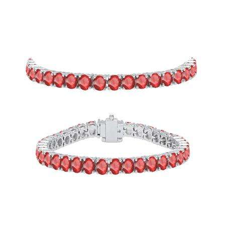7.00 Carat (ctw) 18K White Gold Round Cut Real Ruby Ladies Tennis Bracelet 7 CT