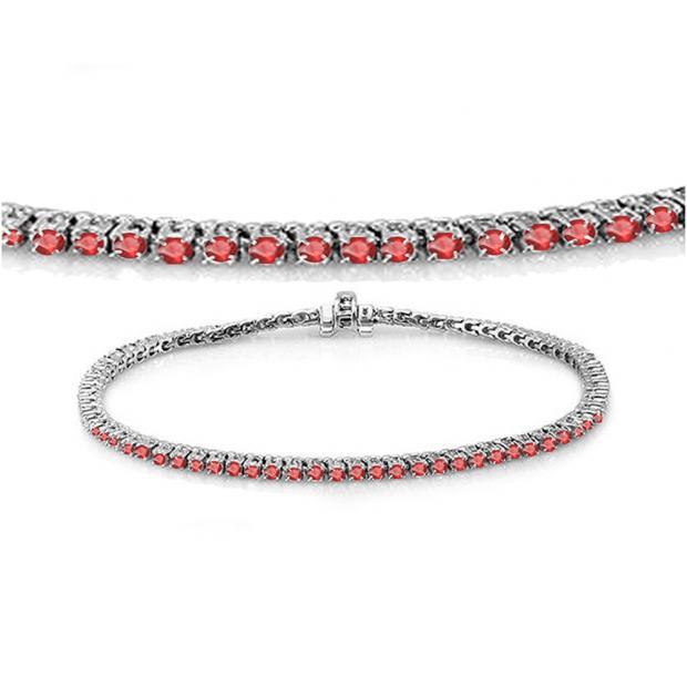 1.50 Carat (ctw) 18K White Gold Round Cut Real Ruby Ladies Tennis Bracelet 1 1/2 CT