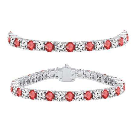 12.00 Carat (ctw) 10K White Gold Round Real Ruby & White Diamond Ladies Tennis Bracelet 12 CT
