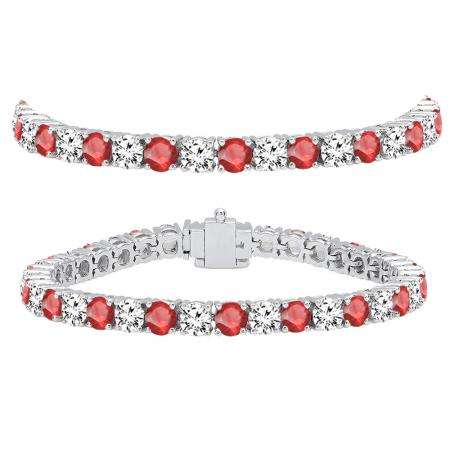 15.00 Carat (ctw) 10K White Gold Round Real Ruby & White Diamond Ladies Tennis Bracelet 15 CT
