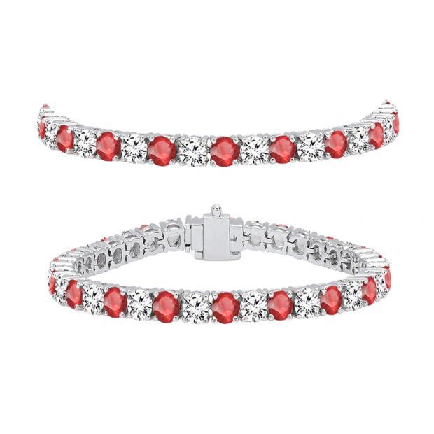 10.00 Carat (ctw) 14K White Gold Round Real Ruby & White Diamond Ladies Tennis Bracelet 10 CT
