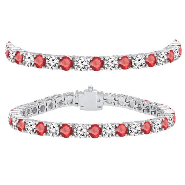 15.00 Carat (ctw) 14K White Gold Round Real Ruby & White Diamond Ladies Tennis Bracelet 15 CT