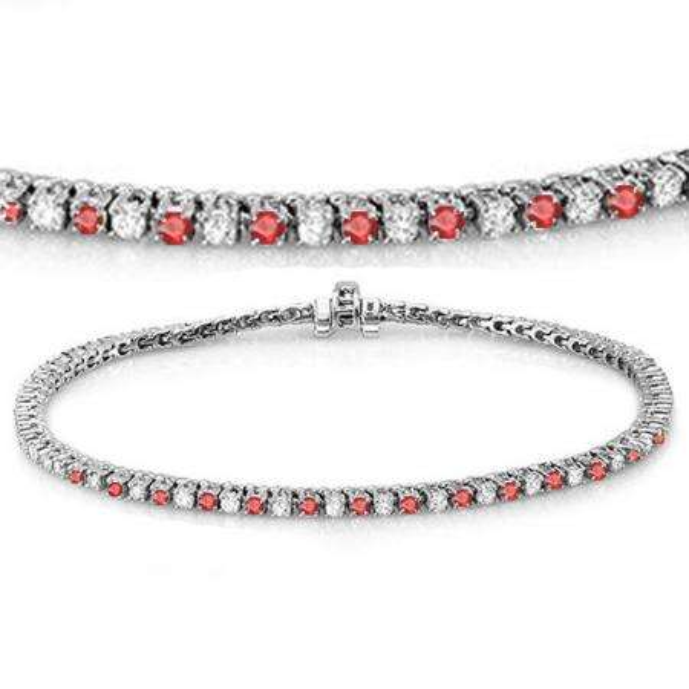 3.00 Carat (ctw) 14K White Gold Round Real Ruby & White Diamond Ladies Tennis Bracelet 3 CT