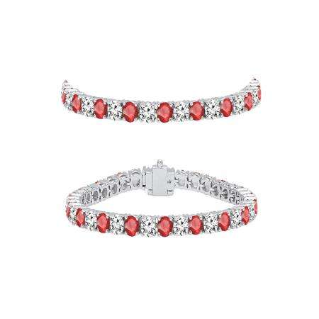 5.00 Carat (ctw) 14K White Gold Round Real Ruby & White Diamond Ladies Tennis Bracelet 5 CT