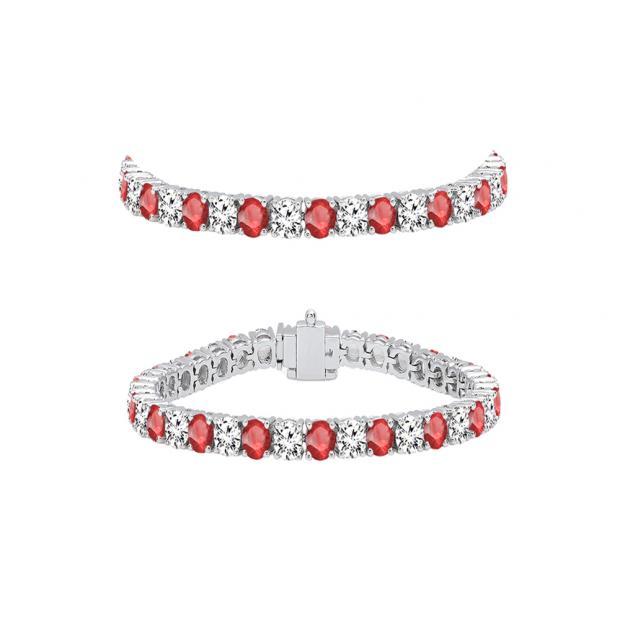 5.00 Carat (ctw) 14K White Gold Round Real Ruby & White Diamond Ladies Tennis Bracelet 5 CT