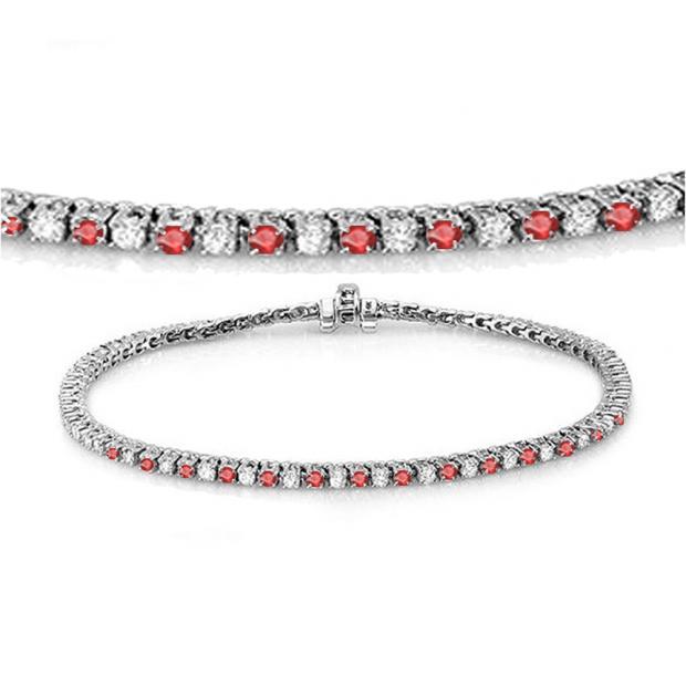 1.50 Carat (ctw) 14K White Gold Round Real Ruby & White Diamond Ladies Tennis Bracelet 1 1/2 CT