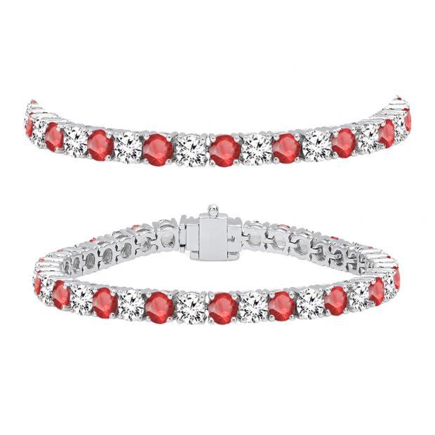 12.00 Carat (ctw) 18K White Gold Round Real Ruby & White Diamond Ladies Tennis Bracelet 12 CT