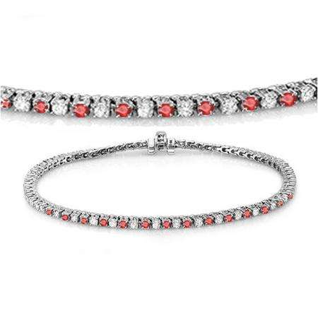 2.00 Carat (ctw) 18K White Gold Round Real Ruby & White Diamond Ladies Tennis Bracelet 2 CT