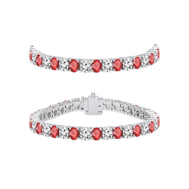 7.00 Carat (ctw) 18K White Gold Round Real Ruby & White Diamond Ladies Tennis Bracelet 7 CT