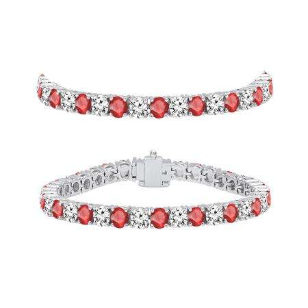 8.00 Carat (ctw) 18K White Gold Round Real Ruby & White Diamond Ladies Tennis Bracelet 8 CT