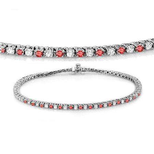 1.50 Carat (ctw) 18K White Gold Round Real Ruby & White Diamond Ladies Tennis Bracelet 1 1/2 CT