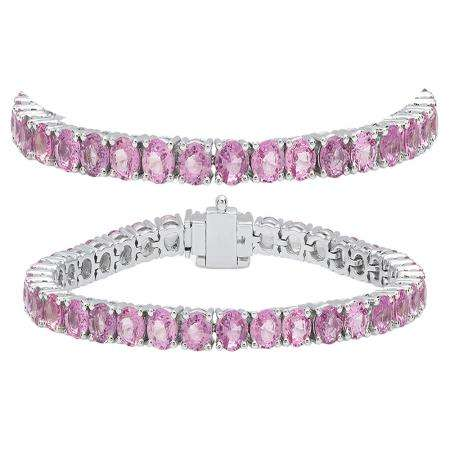12.00 Carat (ctw) 10K White Gold Round Cut Real Pink Sapphire Ladies Tennis Bracelet 12 CT