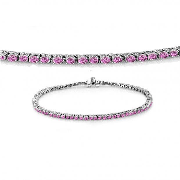 2.00 Carat (ctw) 10K White Gold Round Cut Real Pink Sapphire Ladies Tennis Bracelet 2 CT